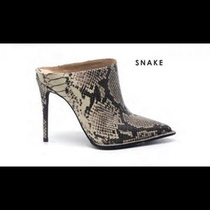 Cape Robbin Shoes - Snake mule studded diamond heels